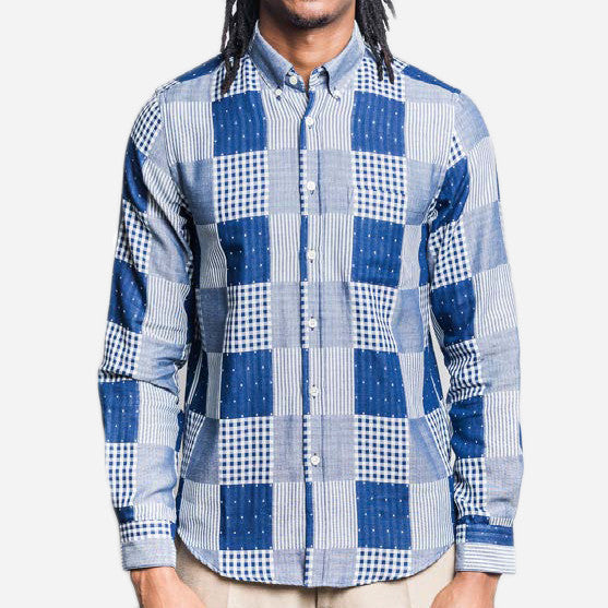 Portuguese Flannel - Remendo Long-Sleeve Shirt - Indigo Patchwork