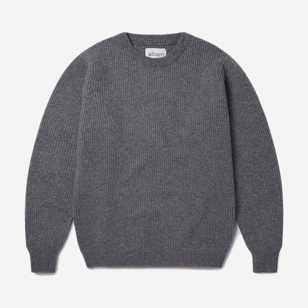 Albam - Ribbed Crew Knit Wool Sweater- Grey