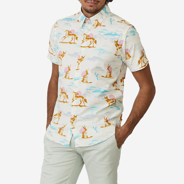 The Dylan Short-Sleeve Shirt - Pink Wild Horses