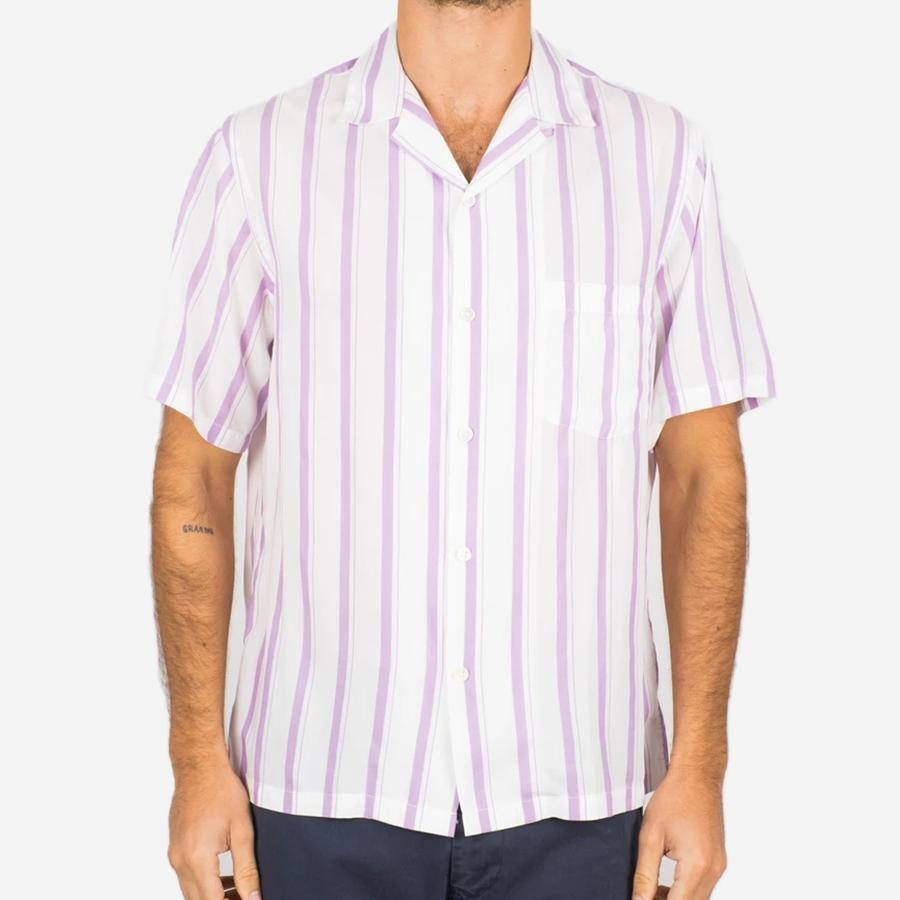 Portuguese Flannel - Saint Martin Short-Sleeve Vacation Shirt - Purple Stripe