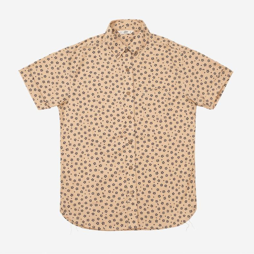 3Sixteen - Sakura Print Short-Sleeve Shirt - Tan