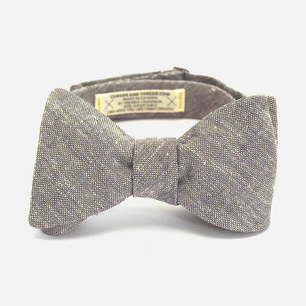 Salt & Pepper Linen Bow Tie - Grey