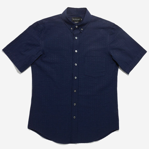 Outclass Attire - Seersucker Short-Sleeve Shirt - Indigo