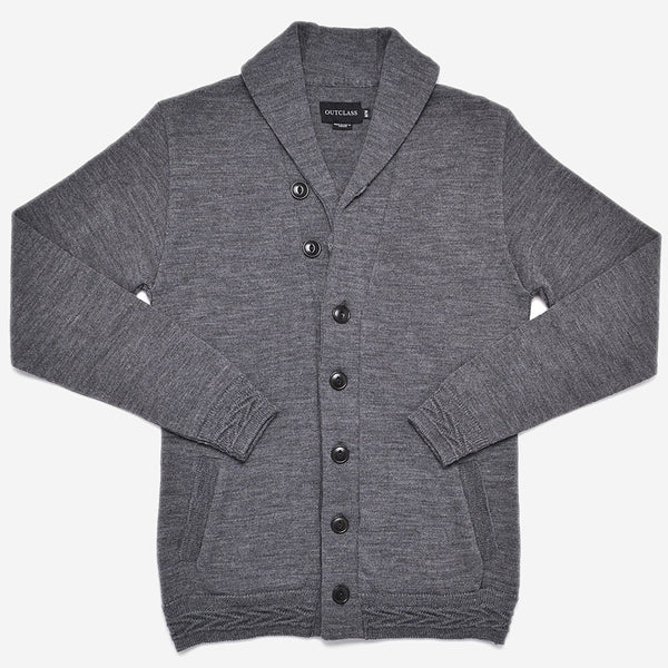 Outclass Attire - Shawl Collar Cardigan - Concrete Grey