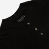 Outclass Attire - Slub Short-Sleeve Henley T-Shirt - Black