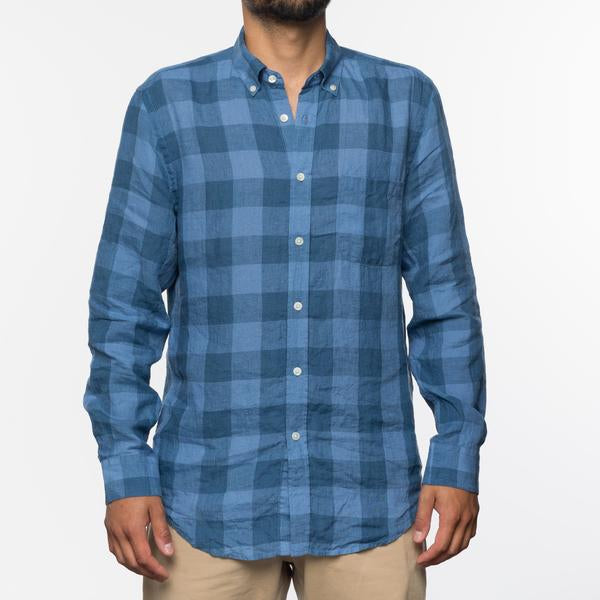 Portuguese Flannel - Square Lightweight Long-Sleeve Shirt - Blue