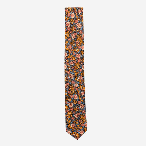 Cursor & Thread - Stanley Rose Necktie - Grey and Peach