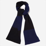 Country Of Origin - Lambswool Stripe Scarf - Navy/Dark Navy
