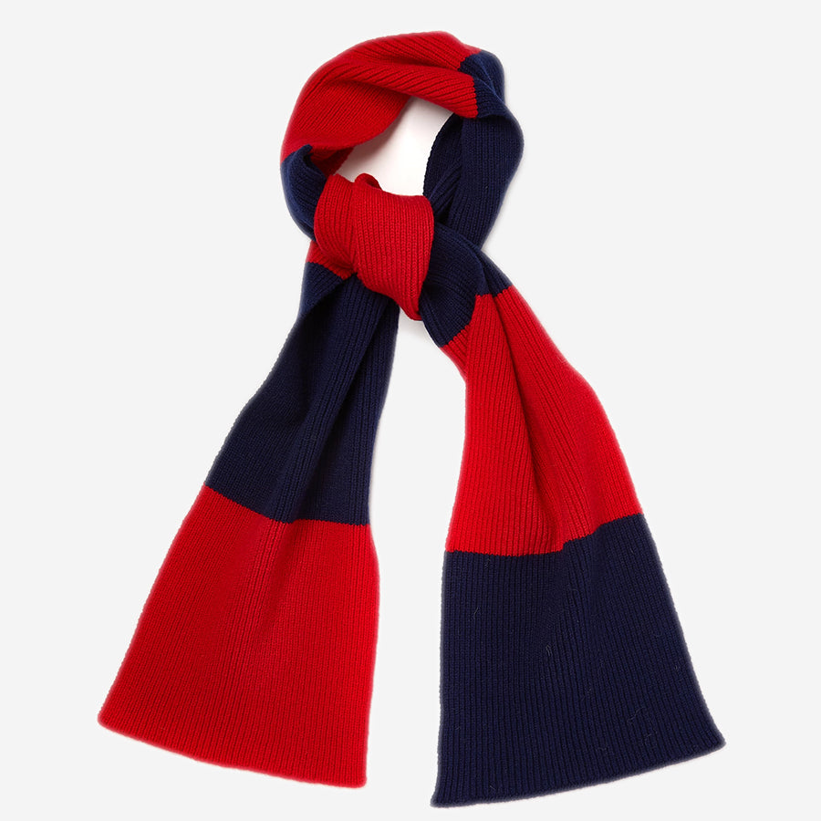 Country Of Origin - Lambswool Stripe Scarf - Red/Navy