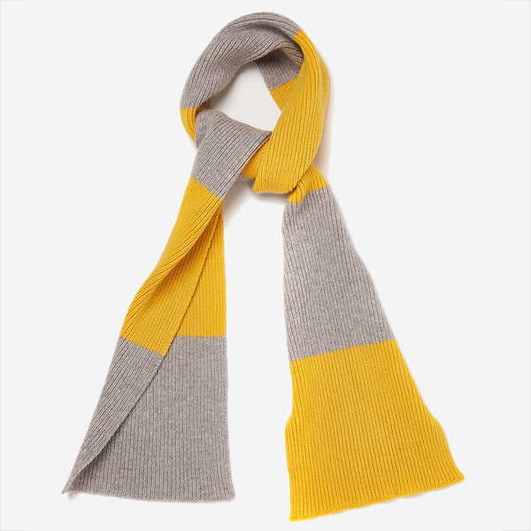 Country Of Origin - Lambswool Stripe Scarf - Yellow/Light Grey