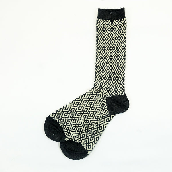 Anonymous Ism - Structure Jacquard (JQ) Crew Socks - Charcoal
