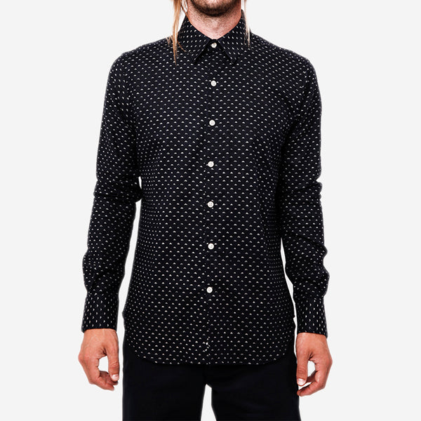 18 Waits - The Dylan Long-Sleeve Shirt - Indigo Mountains