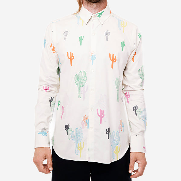 18 Waits - The Dylan Long-Sleeve Shirt - White Cacti