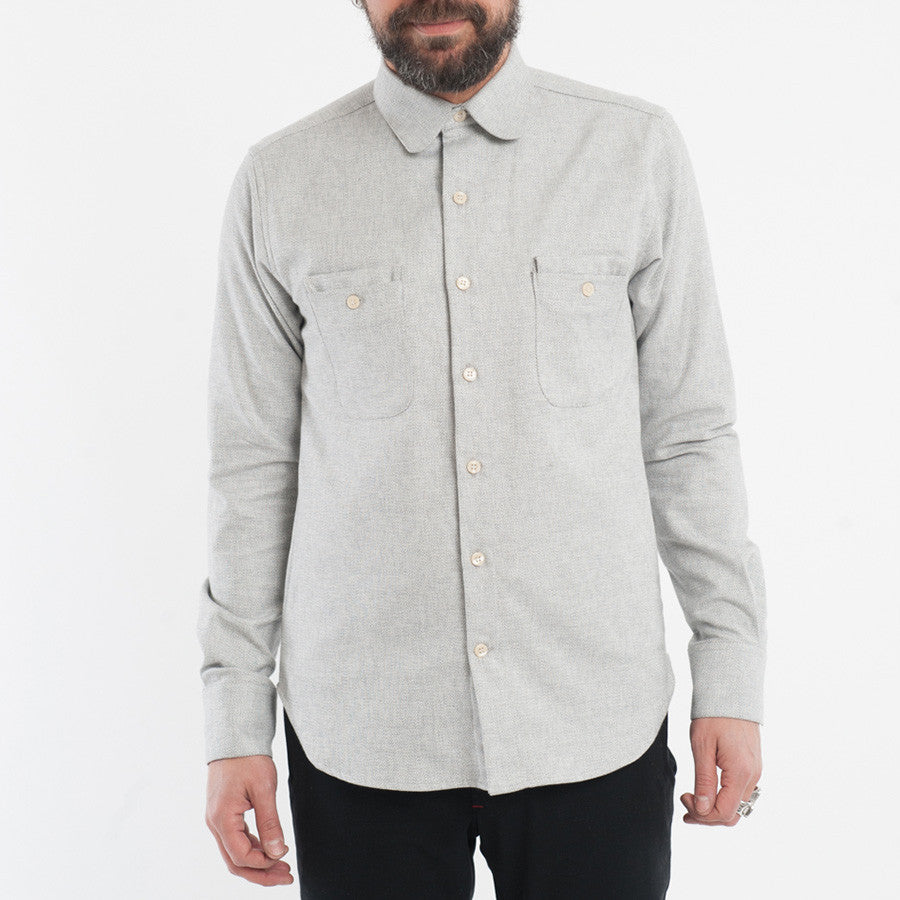 18 Waits - The Woodsman Pocket Shirt - Cream Melange Flannel