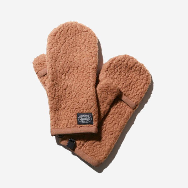 Thermal Boa Fleece Convertible Mittens - Brown