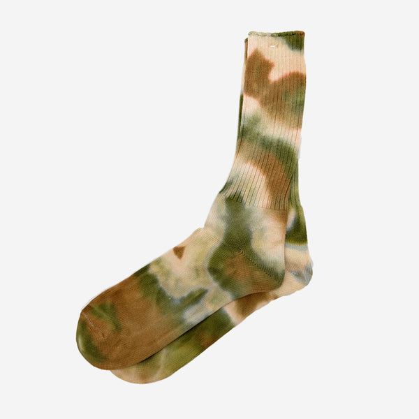Tie Dyed Crew Socks - Brown