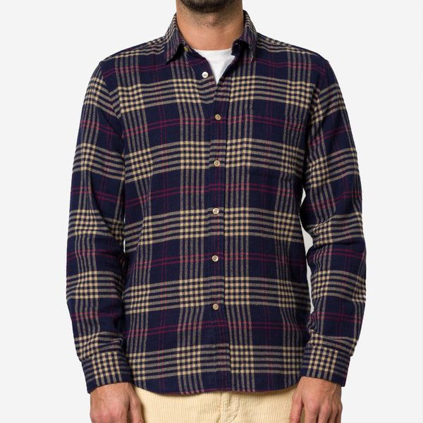 Portuguese Flannel - Tomar Plaid Flannel Shirt - Navy/Camel