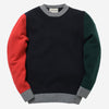 Country of Origin - Tri-Colour Lambswool Sweater - Dark Navy/Red/Green