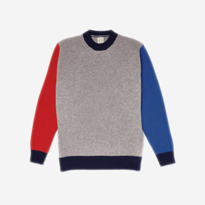 Country Of Origin - Tri-Colour Lambswool Sweater - Grey/Red/Blue