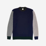 Country Of Origin - Tri-Colour Lambswool Sweater - Navy/Green/Charcoal