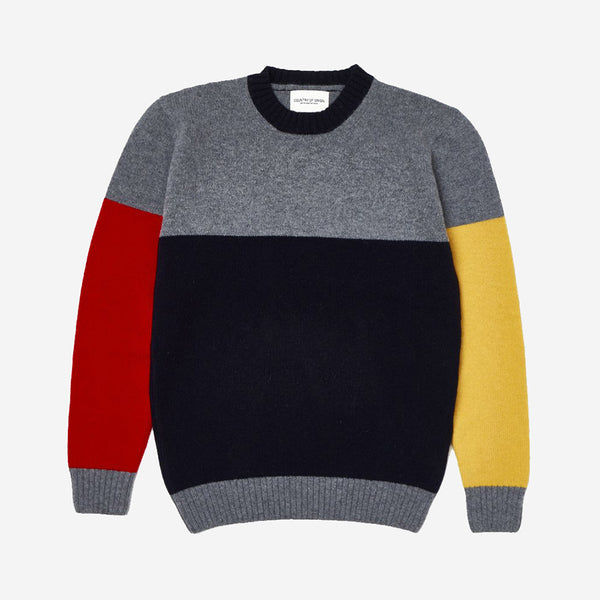 Tri-Half Crew Lambswool Sweater - Grey Mix/Navy