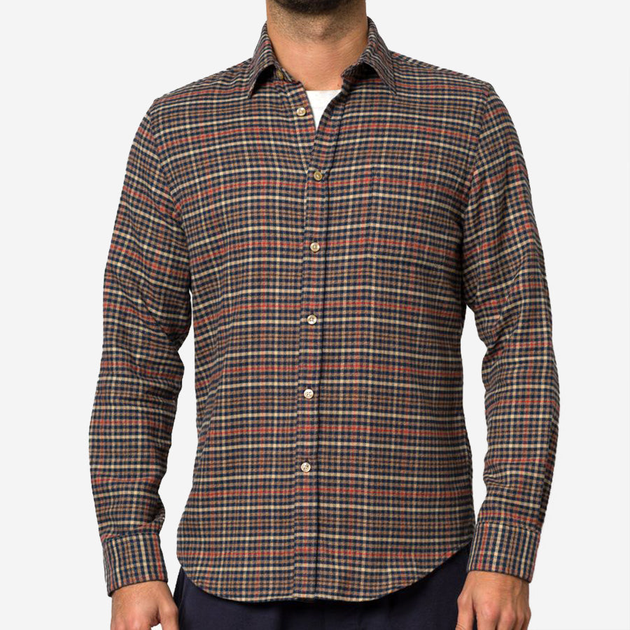 Portuguese Flannel - Twill Micro Plaid Flannel Shirt - Blue/Brown