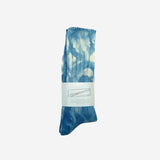 Uneven Tie Dyed Crew Socks - Blue