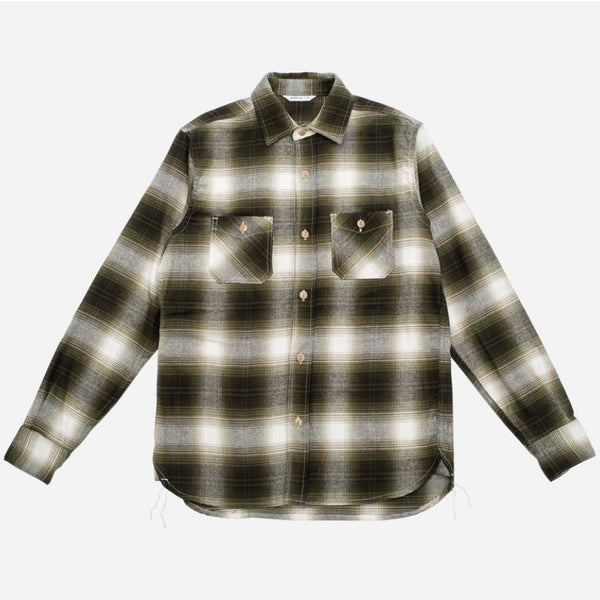 Utility Brushed Flannel Workshirt - Moss Plaid
