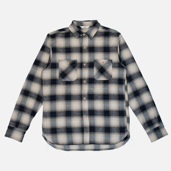 3Sixteen - Utility Flannel Workshirt - Black/Cream Ombre