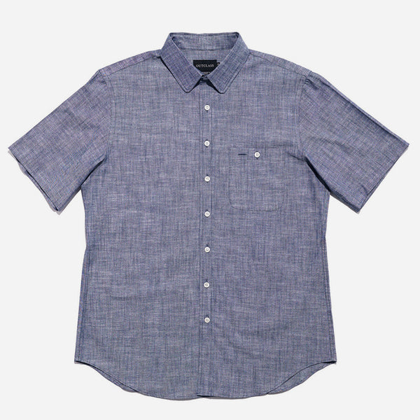 Outclass Attire - Chambray Short-Sleeve Shirt - Blue