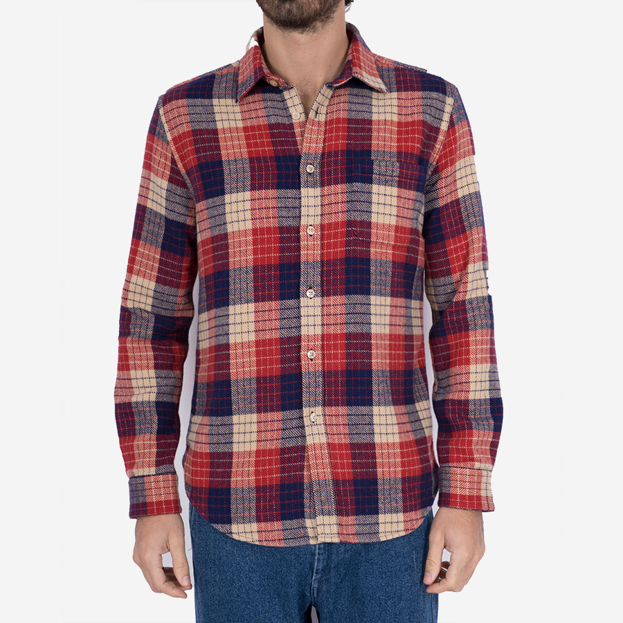 Village Check Flannel Shirt - Navy/Red/Natural