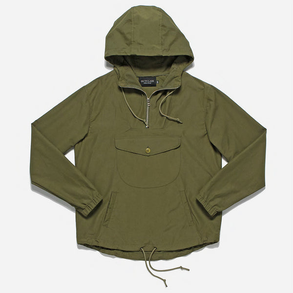 Outclass Attire - Water Repellent Anorak Jacket - Olive