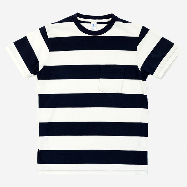 Velva Sheen - Wide Border Stripe Pocket T-Shirt - White/Navy