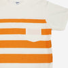 Velva Sheen - Wide Wave Stripe Pocket T-Shirt - White/Orange