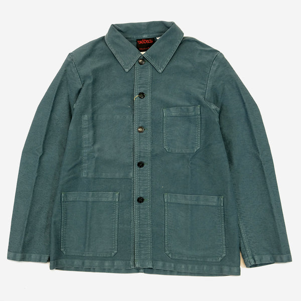 Workwear Chore Jacket - French Moleskin Thyme Blue