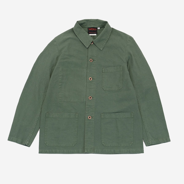 Vetra - Workwear Chore Jacket - Jade Dungaree Twill