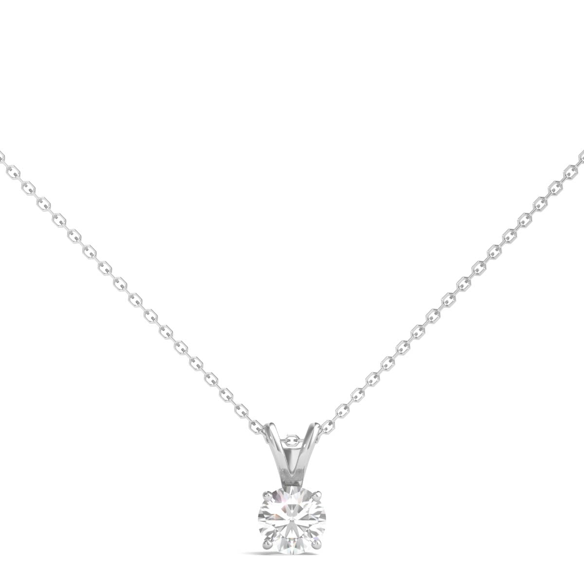 1 4 Ct Tw Solitaire Diamond Pendant AGS Certified KL I1 14K White