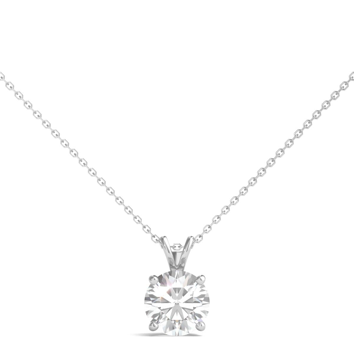 chain gold set necklace white setting diamond g ct bezel solitaire pendant in