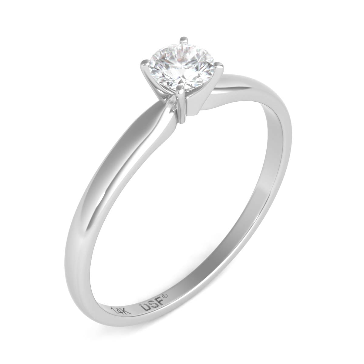 gold with diamond engagement ring rings diamonds solitaire side in white en carat