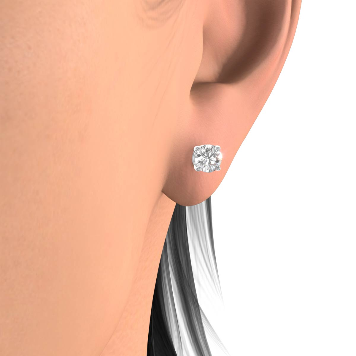 cut sterling silver white beauty platinum earrings sightly synthetic carat stud from jewelry diamond item in plated diamonds cushion piece color gold