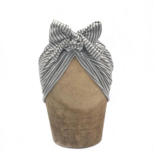 Fini the Label Headwrap in Grey Stripe | Sweet Threads