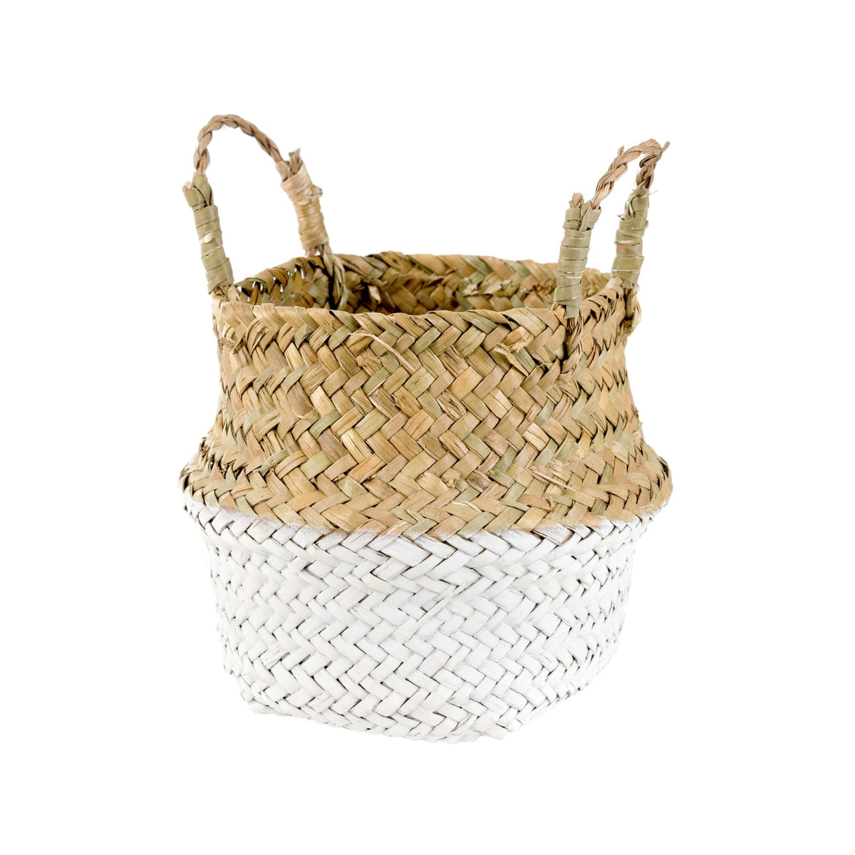 Indaba Baby Belly Basket in White | Sweet Threads