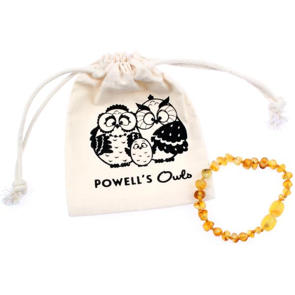 Powell's Owl Amber Teething Bracelet/ Anklet in Honey | Sweet Threads