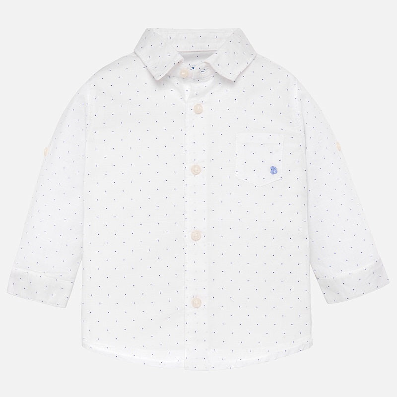Mayoral Long Sleeve Linen Shirt in Microprint White | Sweet Threads