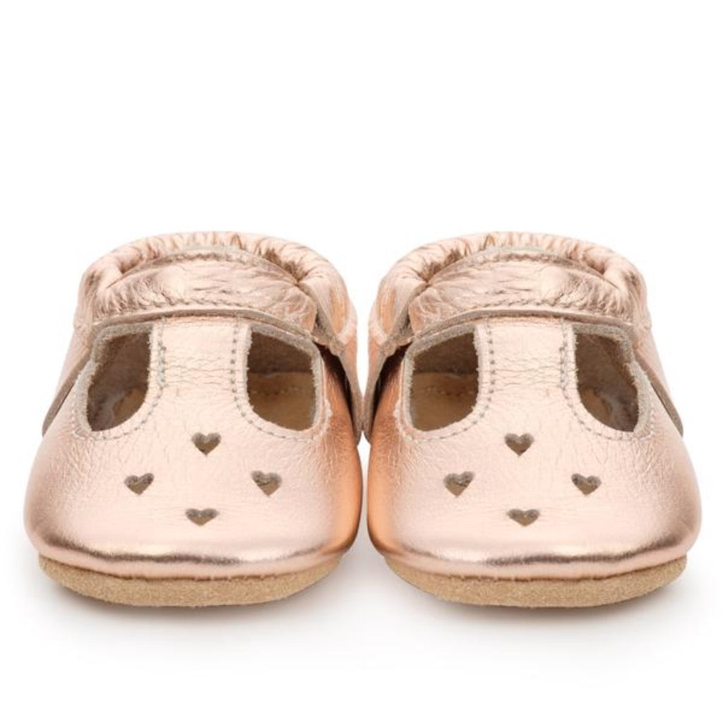 Birdrock Baby Mary Janes in Rose Gold