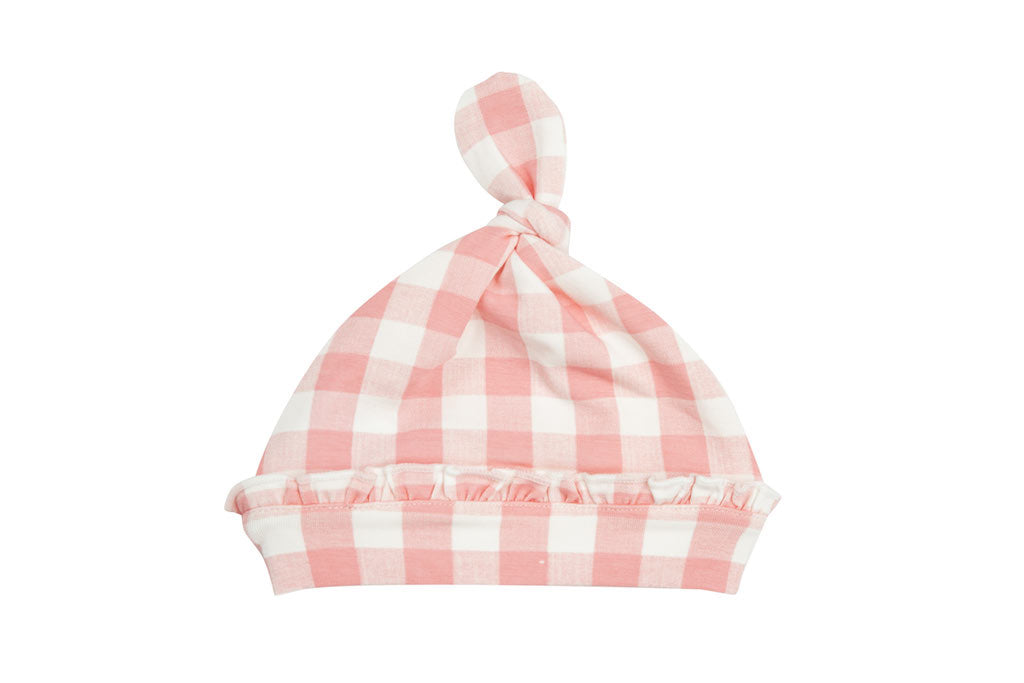 Angel Dear Gingham Pink Knotted Hat
