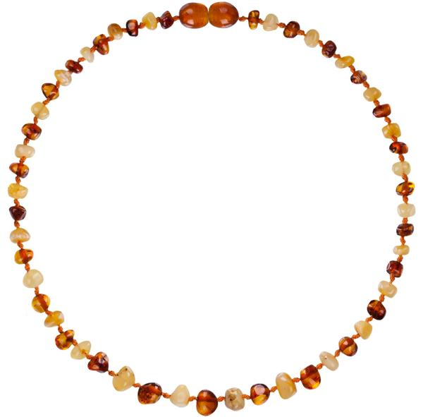 Powell's Owl Amber Teething Necklace in Milk Cognac | Sweet Threads
