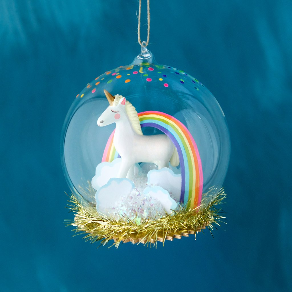 Glitterville Unicorn Dome Ornament | Sweet Threads