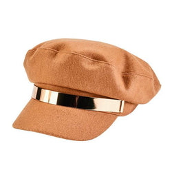 San Diego Hats Womens Fisherman Cap in Camel with Gold Band | Sweet Threads