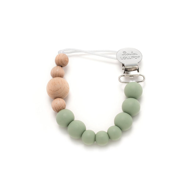Loulou Lollipop Color Block Silicone & Wood Pacifier Clip in Sage | Sweet Threads